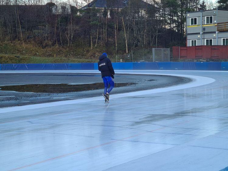 Fra en treningsøkt på Slåtthaug tidligere i vinter