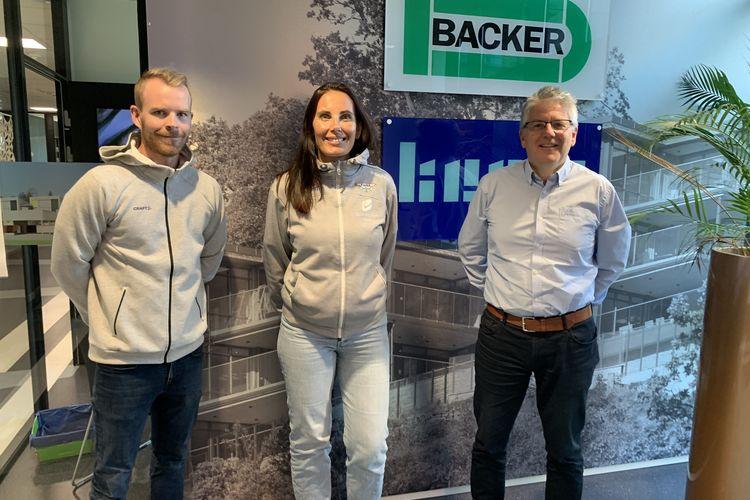 Leder for Fana IL E-sport Michael Sæther, marked og kommunikasjonssjef i Fana IL, Lene Stuhr og daglig leder i Backer, Atle Sylvarnes.